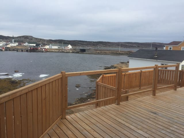 The beautiful view of Fogo harbour from the enormous patio.