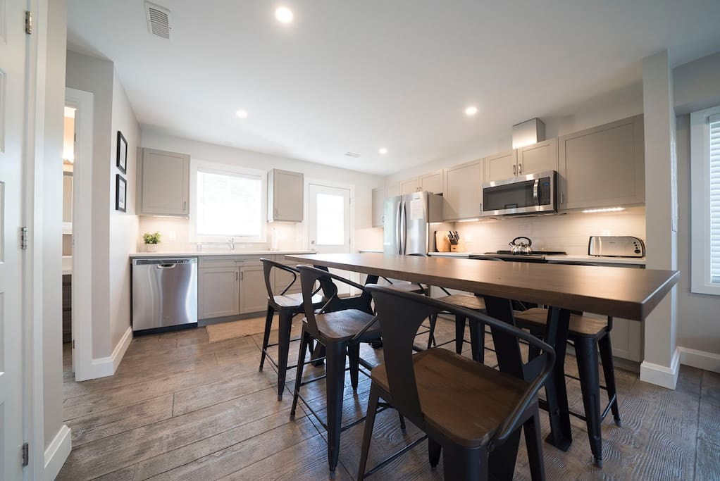 Enjoy the kitchen space with all amenities you need (fridge, stove, microwave, dishwasher)