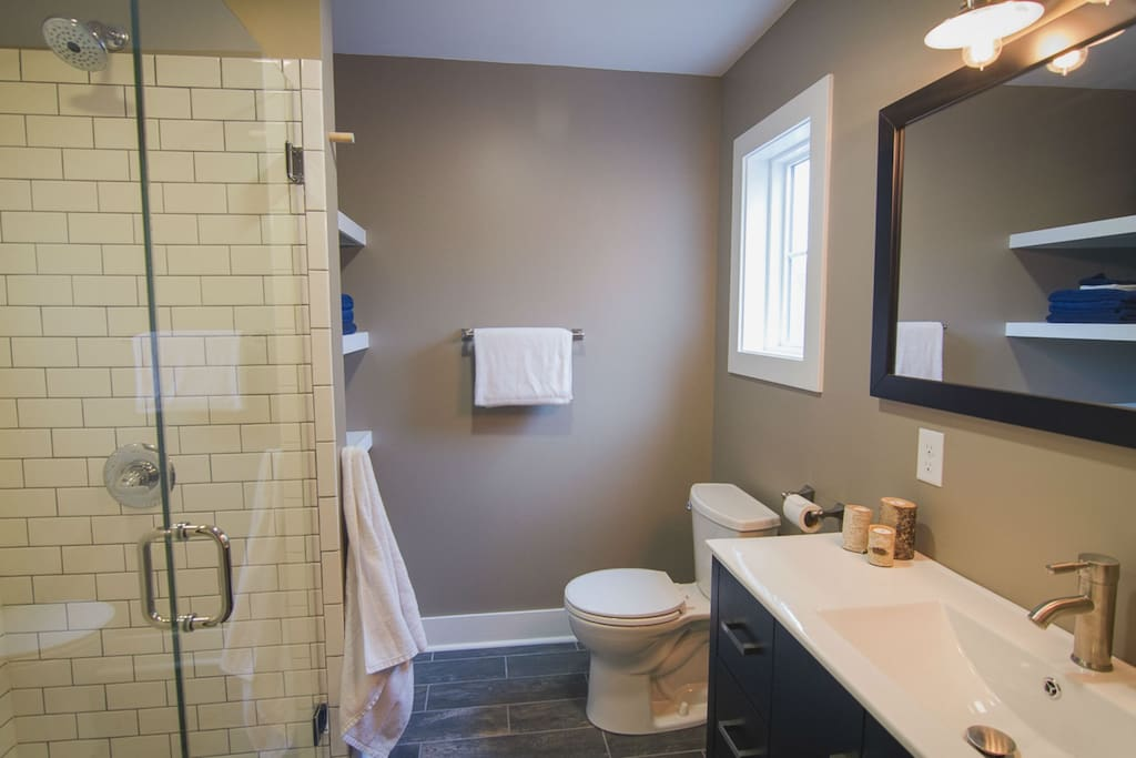 Brand new bathroom with heated floors.