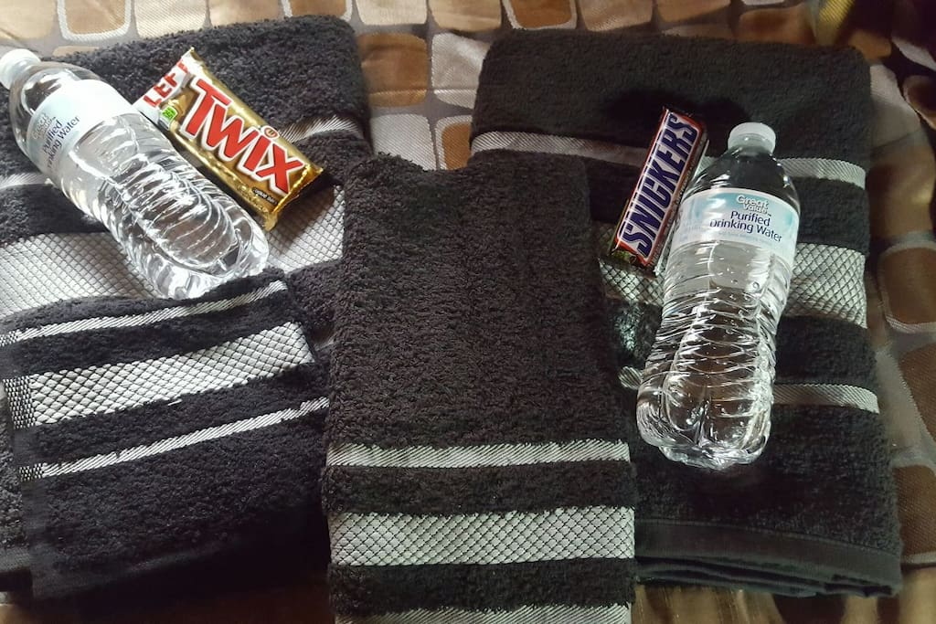 Check in water and snack provided.  Let me know if you need a special allergy or restrictions.  I travel often and try to anticipate the needs of my fellow travelers!
