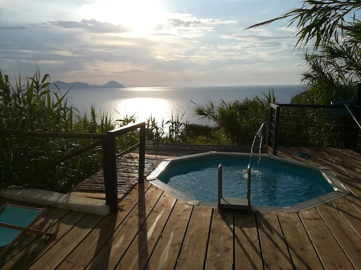 Amphora cave sunset seaview and pool