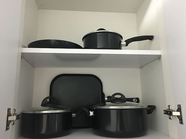 Pots and pans in unit