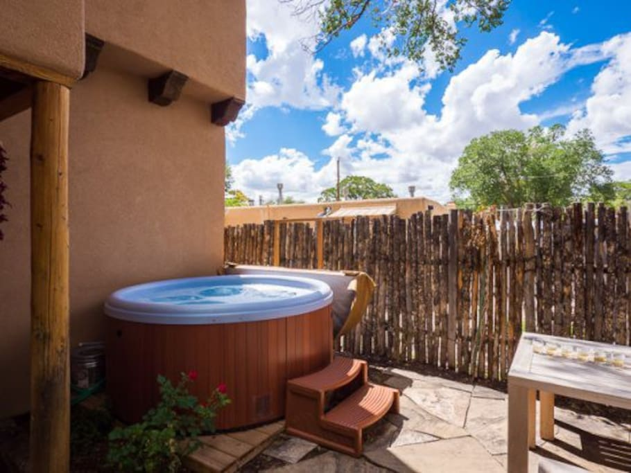 Hot tub and outdoor seating