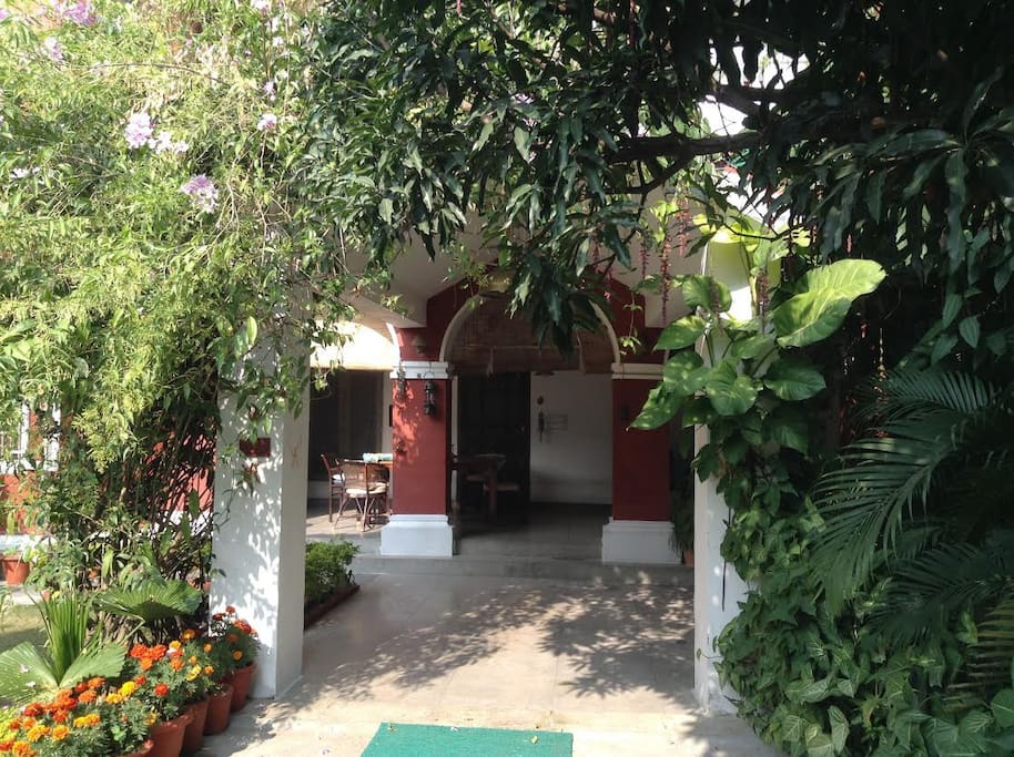 looking into the verandah from the main gate