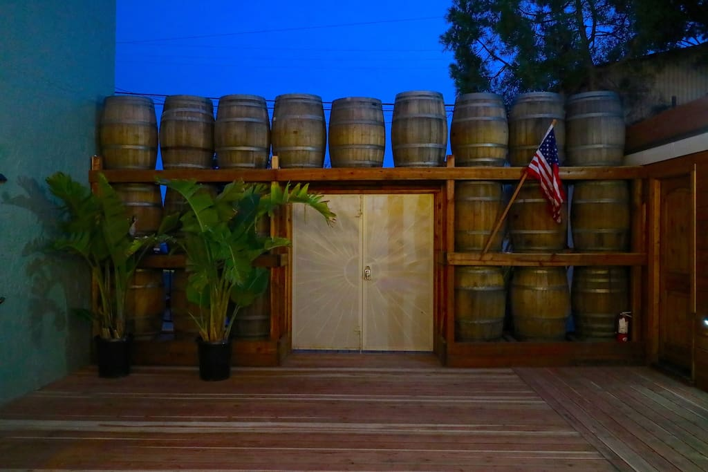 21 foot wide wall of Temecula wine barrels; a great backdrop for your photos.