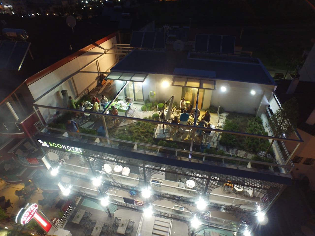 Eco Hotel Paralia Green Roof Garden View by night