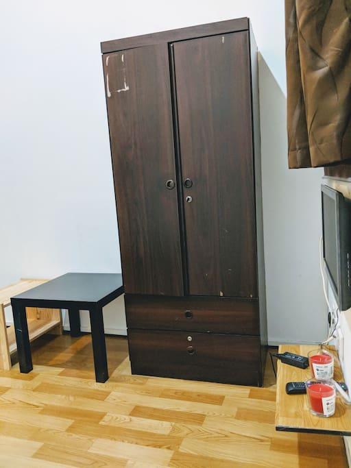 room has big wardrobe