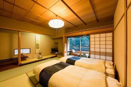 三朝温泉の旅館/露天風呂あり/2食付き/2名定員/和室