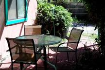 Shaded patio, newly paved