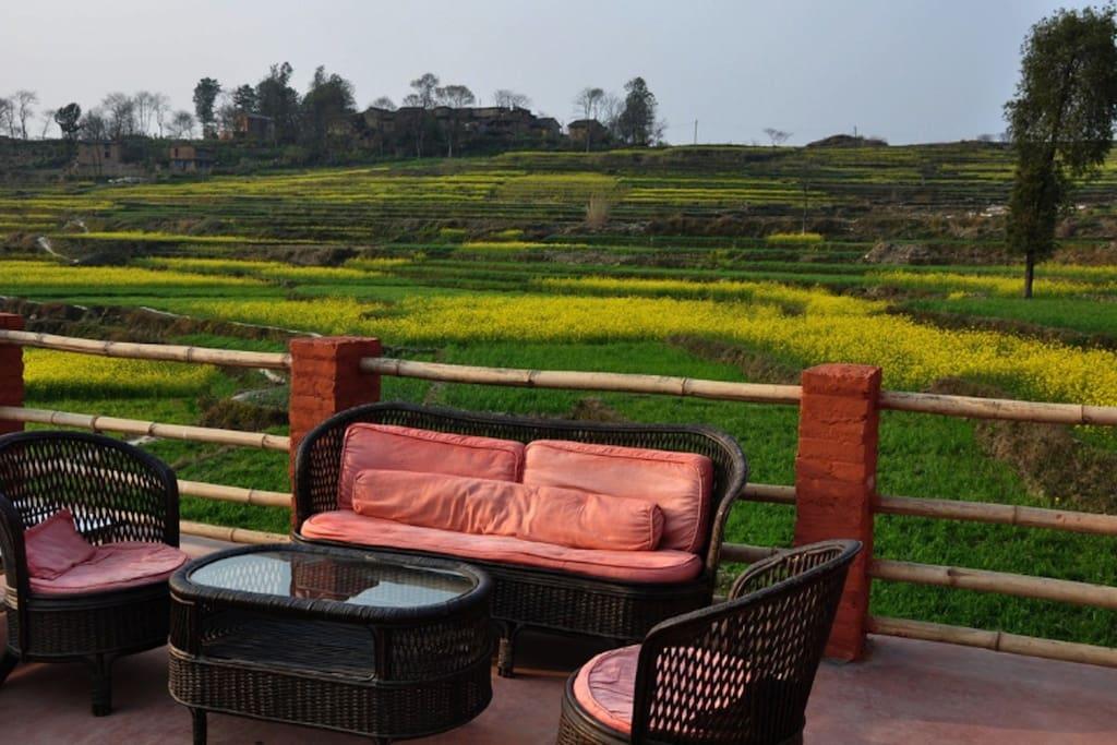 From our terrace, the Hamlet of Sano Khokana