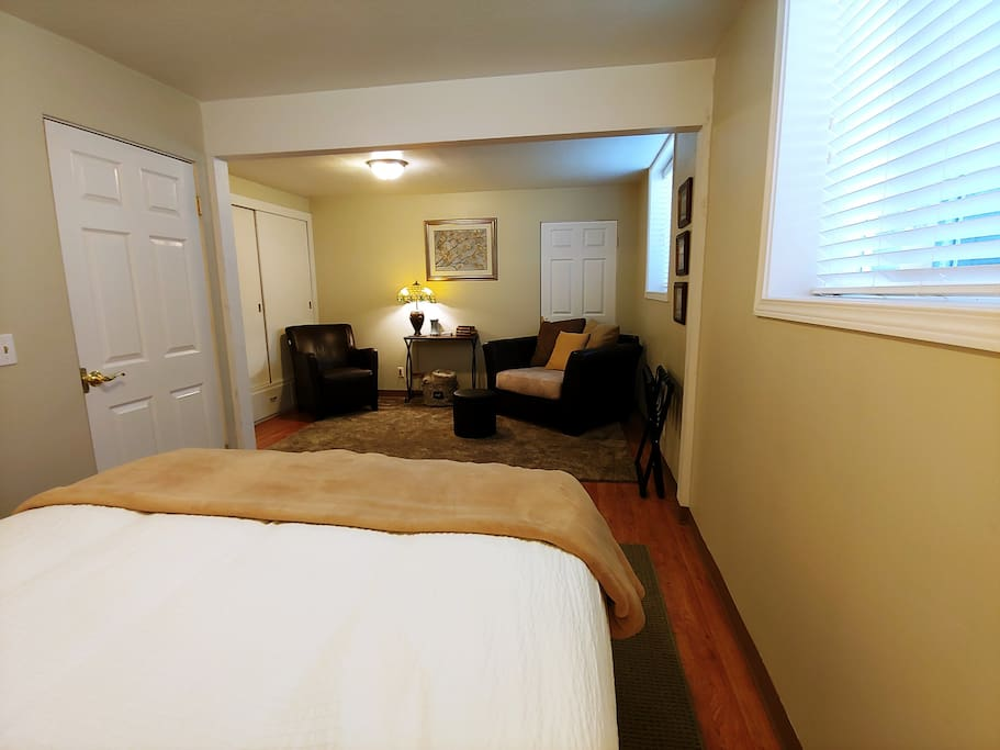 Comfortable seating area in bedroom