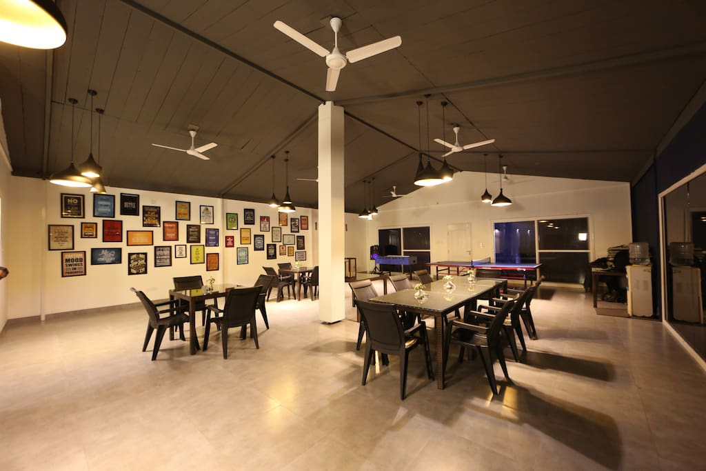 The legendary and humongous recreation room! Equipped with a 50 inch TV, table tennis, foosball table, speakers and carrom