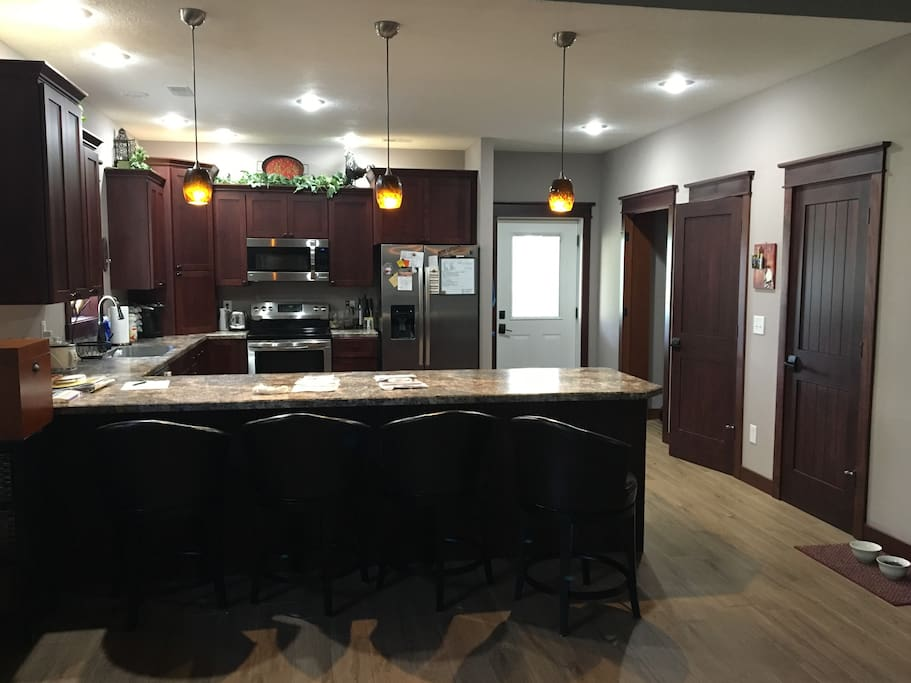 kitchen area with bar seating