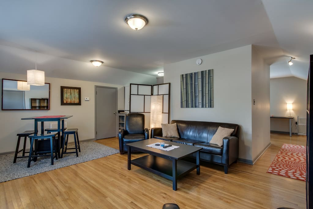 Enjoy comfortable seating on the recliner, couch and chair in the living room