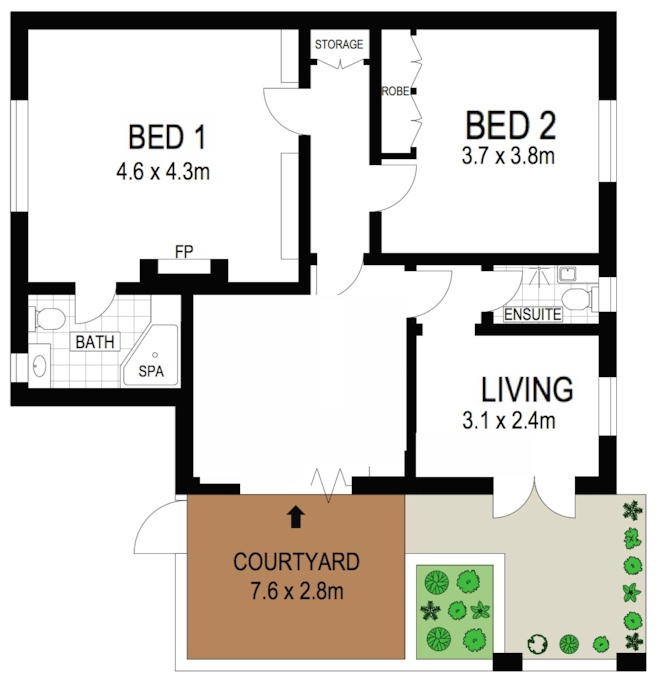 Floor plan - two really spacious bedrooms with plenty of storage space