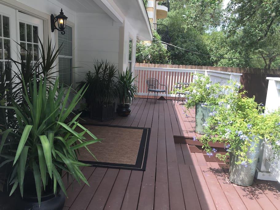 Front deck under a massive oak tree