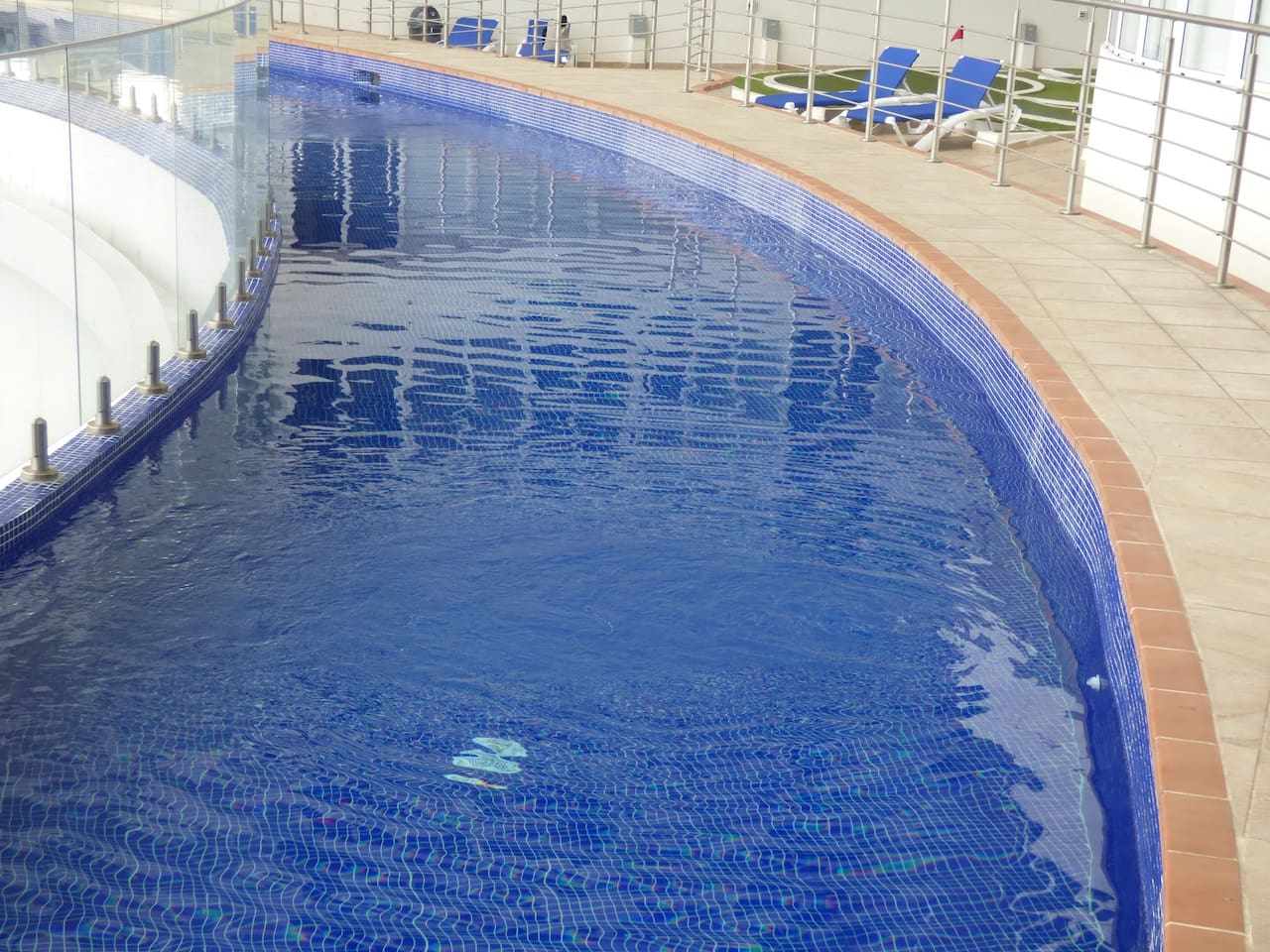 Its  H O T   in   Panama, so why would you stay anywhere without a Pool?  View of  Swimming Pool, you talk about crystal clean!  This is about half of the lap pool.  See balance of pool below :