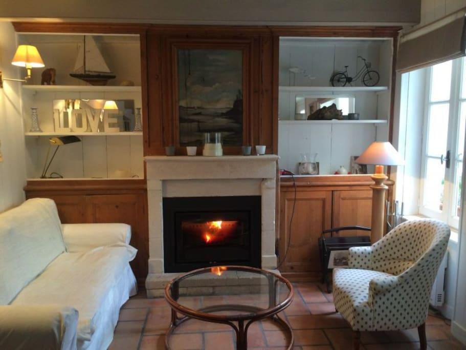 Le salon cosy vous invite à la lecture. NOUVEAU: nous avons placé un insert dans la cheminée!