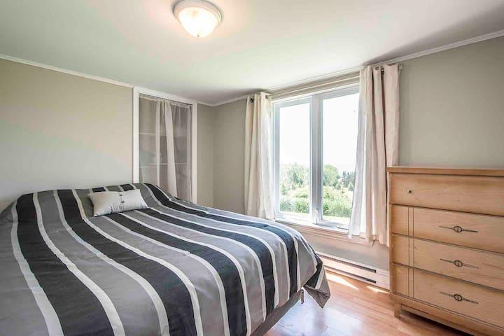 Downstairs bedroom. Queen size bed.