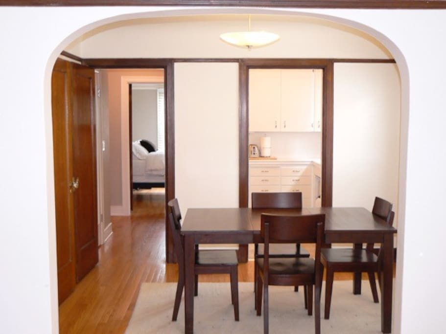 Large separate dining room with seating for 4