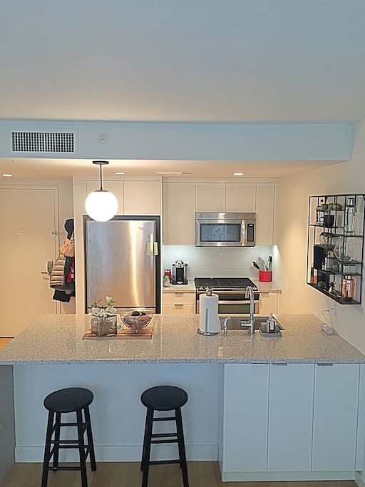 Brand new appliances, dishes, silverware, cooking utensils, pots & pans.