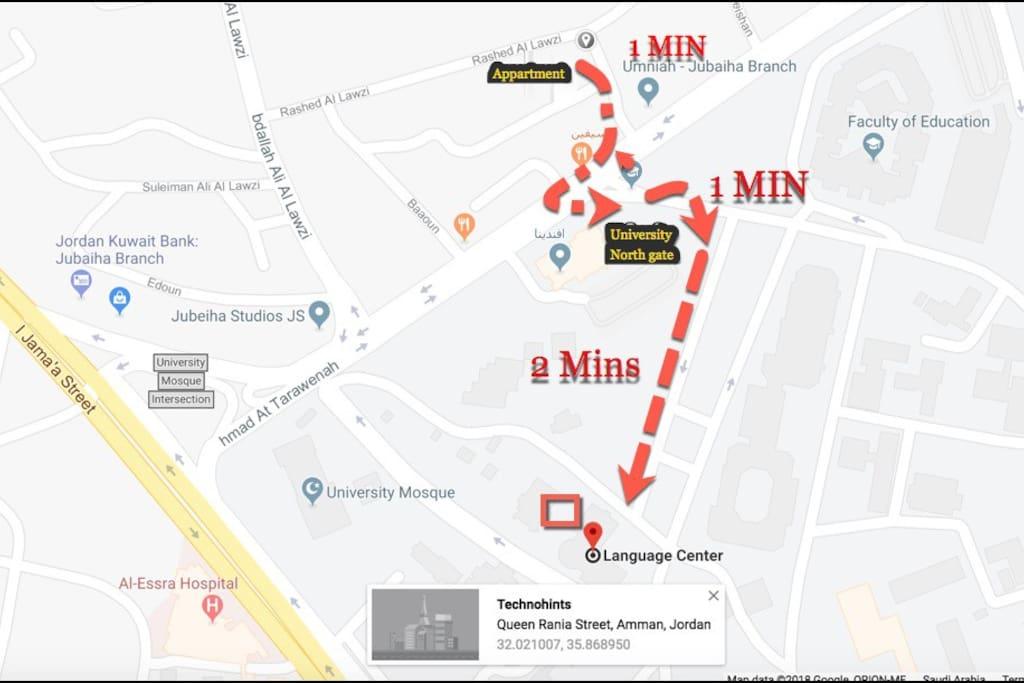 Map to Jordan University -North gate and Language center