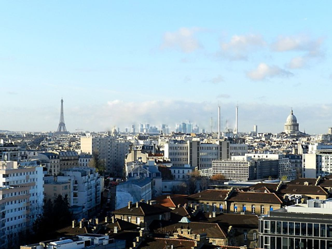 The apartment has a beautiful view on Paris, with the Eiffel Tower, the Pantheon and Montmartre.