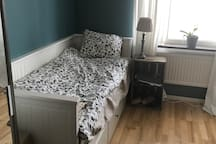 The second bedroom has a single bed which converts to a double bed. There is also an extra bed/cot available for a fifth person.