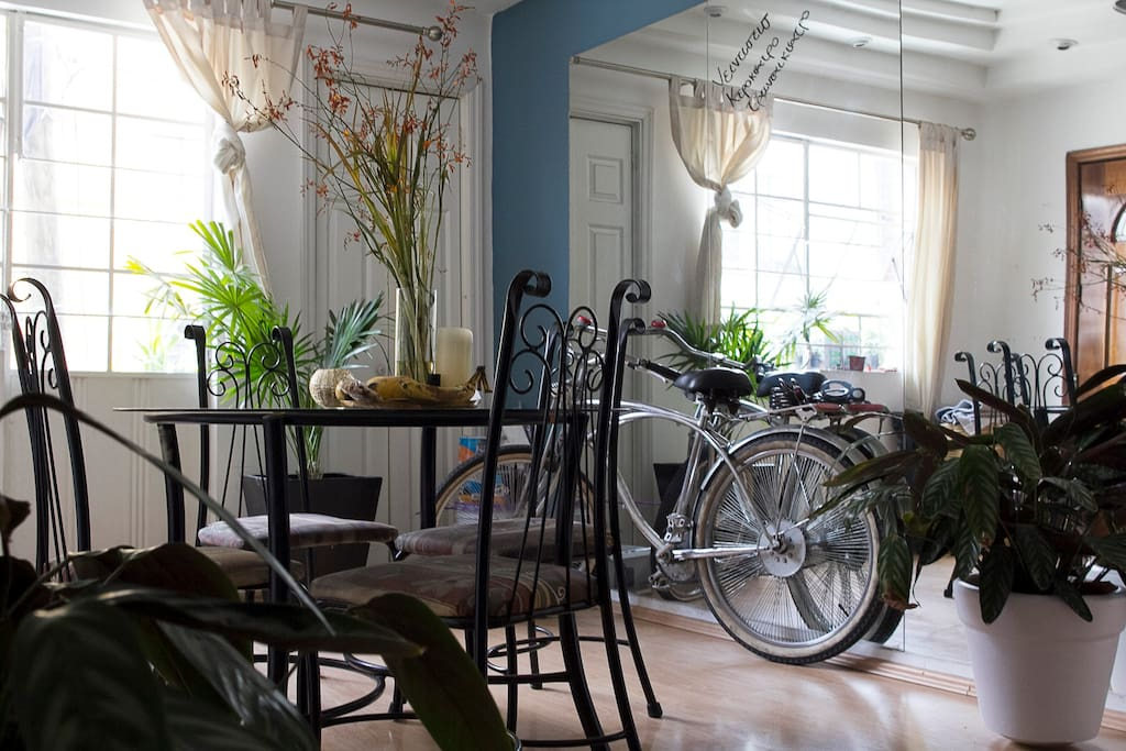 Dinning Room, Blanket Closet & the Bicycle ready to use.