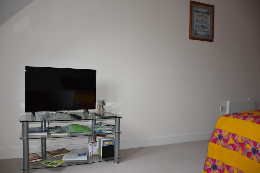 """Bedroom with 32"""" Smart TV  DVD Combo and  plentiful supply of DVD's and books & guides"""
