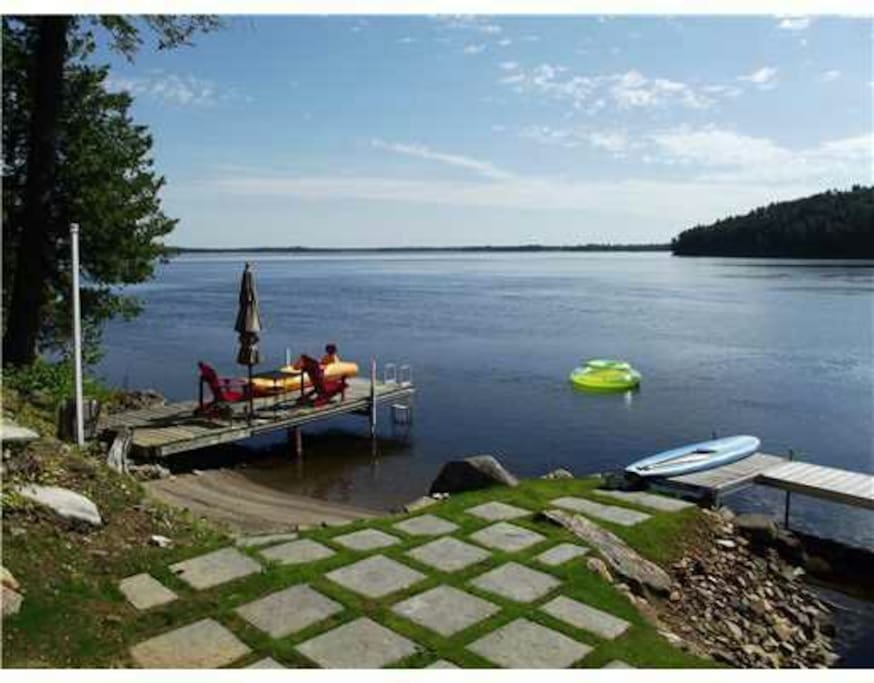 Our 204ft of Calabogie Lake waterfront with 2 docks, canoe, kayak and SUP with small beach area. Awesome fishing!
