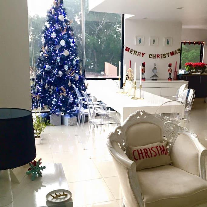 living room on Xmas