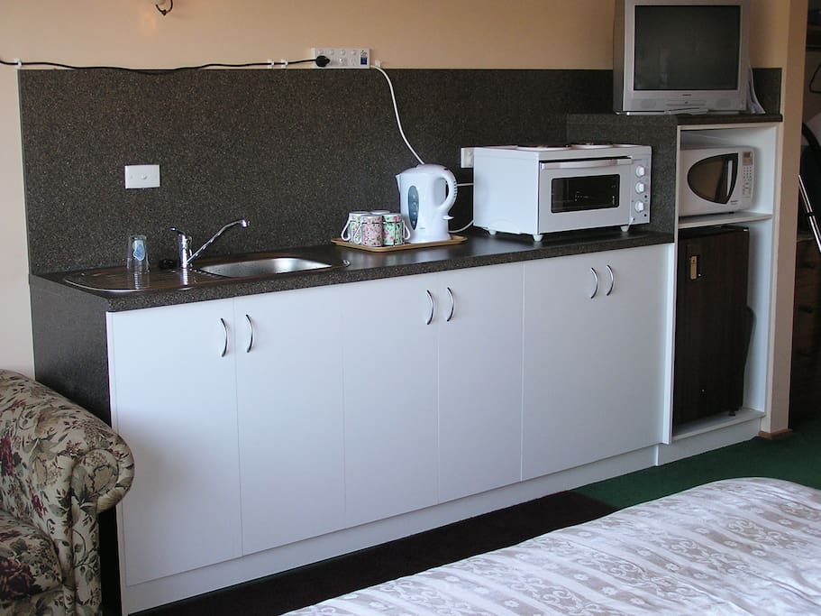 The room offers a kitchenette with a small stove/oven and microwave