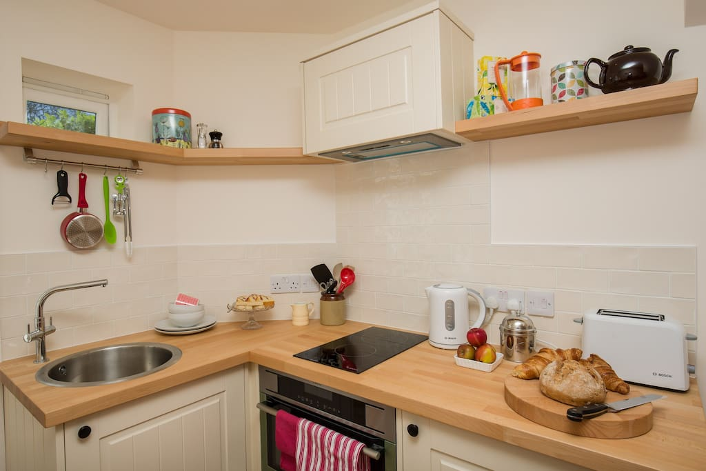 The kitchenette is carefully appointed for your ease and convenience