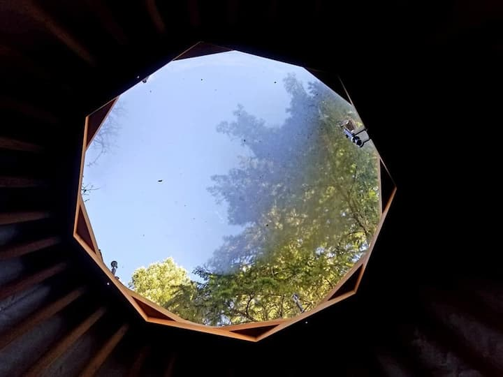 View of sky from inside Yurt