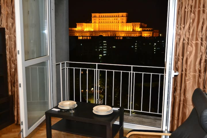 Unique view from the apartment's terrace over the city center !