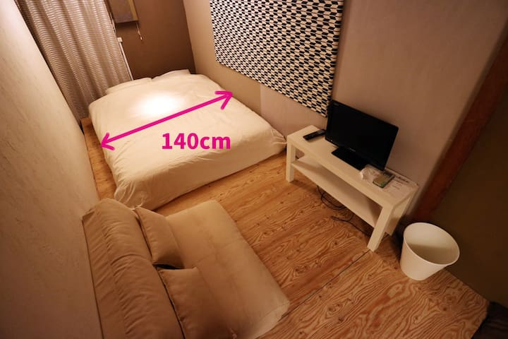 【Max 3 people】Room1 (Double Bed+Single Bed)