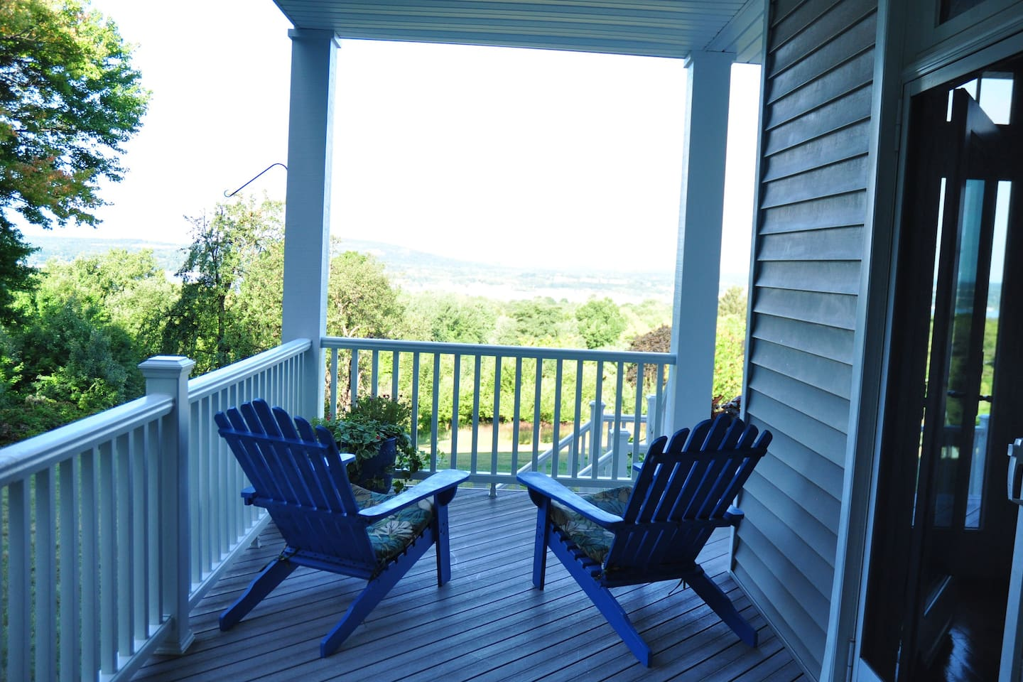 Enjoy your morning coffee on the porch with a view of the Hudson, or watch the sunset in the evening.