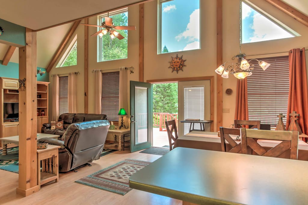 An abundance of sunshine lights up the vacation rental's great room each day.
