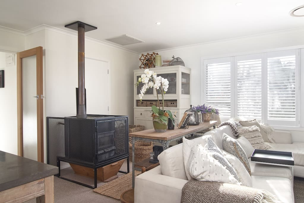 Living area with wood burner