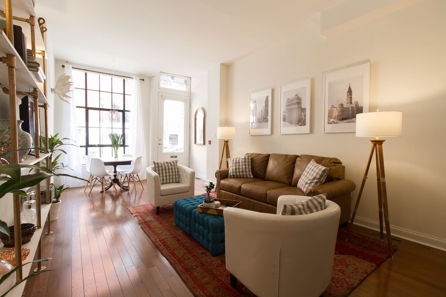 The bright and airy living space is great for entertaining clients/guests while also comfortable enough to kick back and watch TV.