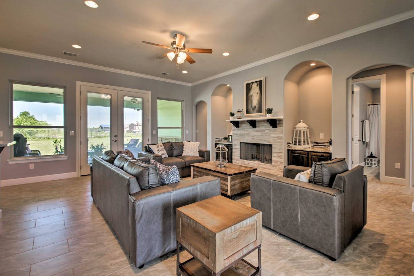 Gather in the living room to discuss plans for the day or play a game of cards.