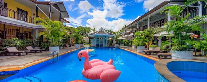 泰式泳池spa度假村,池景双床房,免费接机。vdara pool resort spa