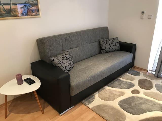 Sofa converts to sofa bed
