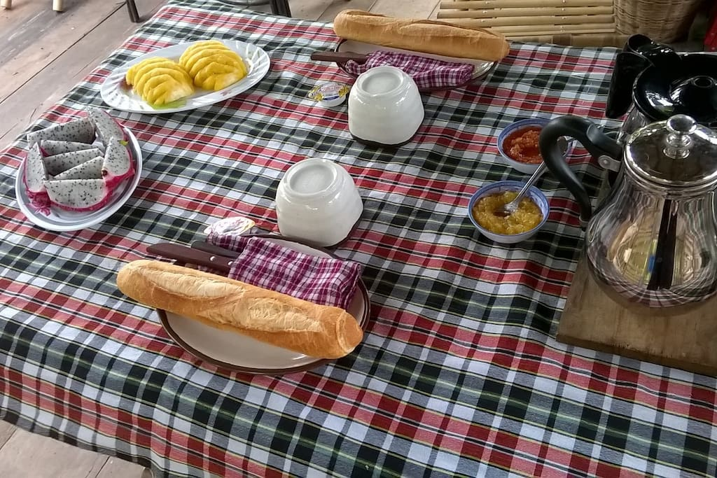 breakfast with tea or coffee, bread, homemade jam, fruits from my garden or market