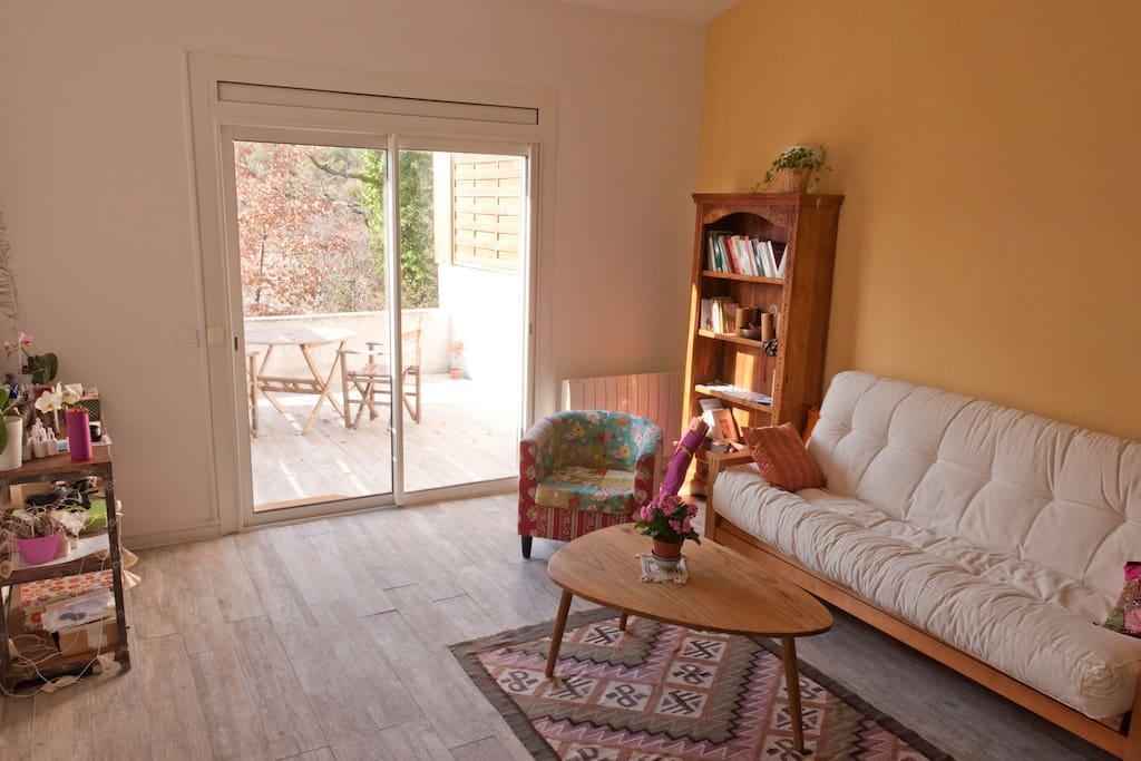 Salon et vue terrasse