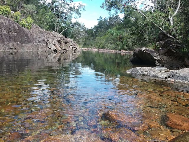 Our private swimming hole is an easy 30 minute walk away.