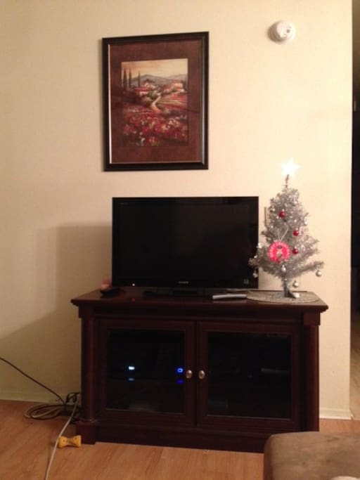 TV in family room next to fireplace with a sectional couch that seats 4-5.