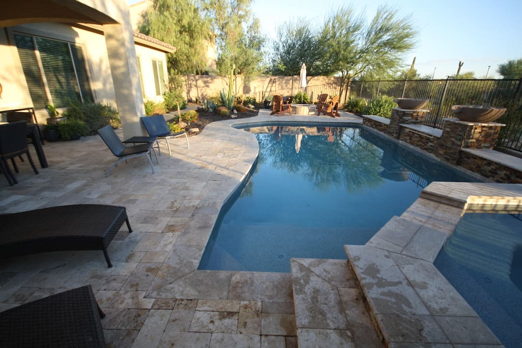 Pool, spa, firepit and lots of space to hang out and get some sun.