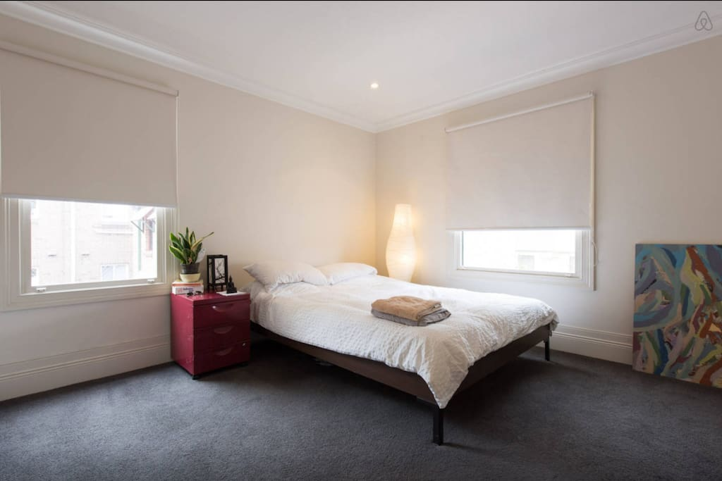 This is your room, overlooking Sydney's skyline to the west